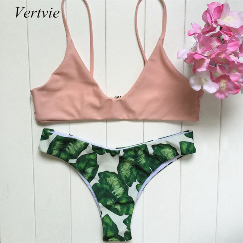 Vertvie Sexy Bikini Set Halter Flesh Pink Strap Push Up Swimwear Green Leaf Pattern Bottom Swimsuit Women 2017 New Summer Beach vertvie sexy solid bangdage bikini set green hollow out push up braided rope swimsuit women 2017 summer beach party bathing suit
