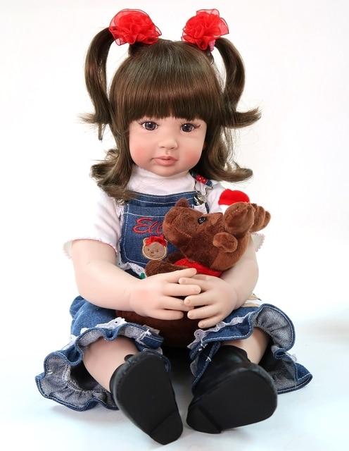 60cm Lovely Reborn Toddler Baby Girl Toy Vinyl Princess Dolls Like Alive Bebe Cowboy Bonecas Fashion