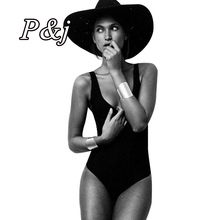 P&j 2016 One Piece Swimwear High Cut Monokini Swimsuit Bandage Women Cut Out Thong Bathing Suits Bodysuit Brazilian