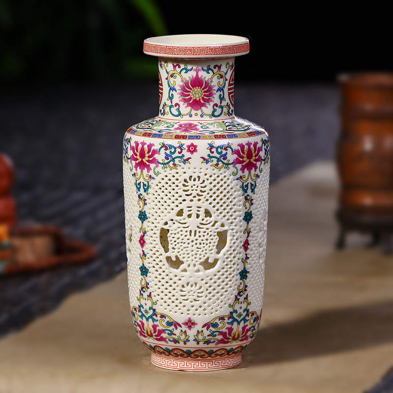 Antique Wedding Gifts: Antique Jingdezhen Ceramic Vase Chinese Pierced Vase