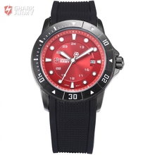 New Shark Army Date Display Black Silicone Band Calendar Outdoor Full Steel Case Red Men Quartz