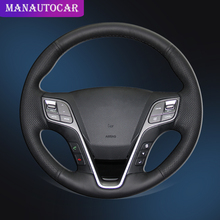 цена на Car Braid On The Steering Wheel Cover for Hyundai Santa Fe 2013-2018 ix45 2013 2014 2015 2016 Auto Cover Interior Car-styling