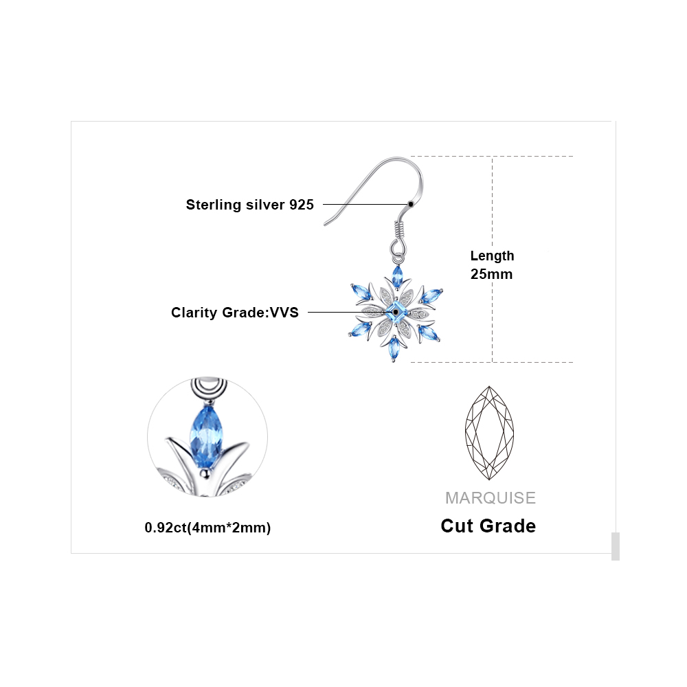Jewelrypalace Snowflake 1,4ct Genuine Swiss Blue Topaz Dangle - Wykwintna biżuteria - Zdjęcie 5