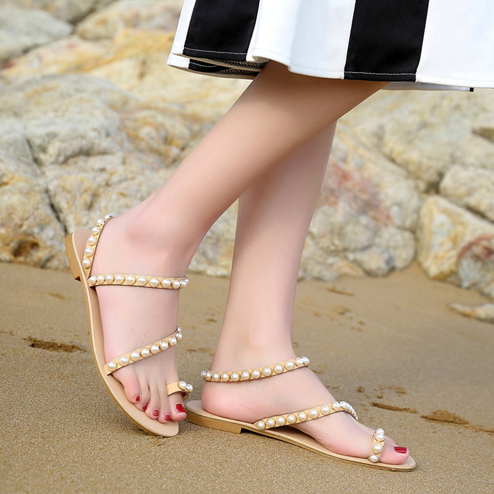 9658564a388d65 women s sandals summer beaded stone pearl female sandals Rome flat sandwich  toe women s sandals flat wedding shoes-in Low Heels from Shoes on  Aliexpress.com ...