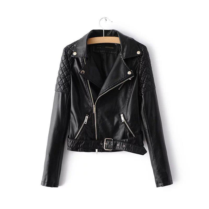 Women   Leather   Jacket 2019 New Casual Turn Down Collar Bikers Short Jackets Ladies Slim Pu Moto   Leather   Coats