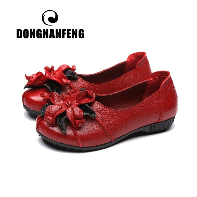 Женская обувь на плоской подошве DONGNANFENG, лоферы с резиновой подошвой из натуральной кожи без шнуровки, винтажные повседневные лоферы с цвет...