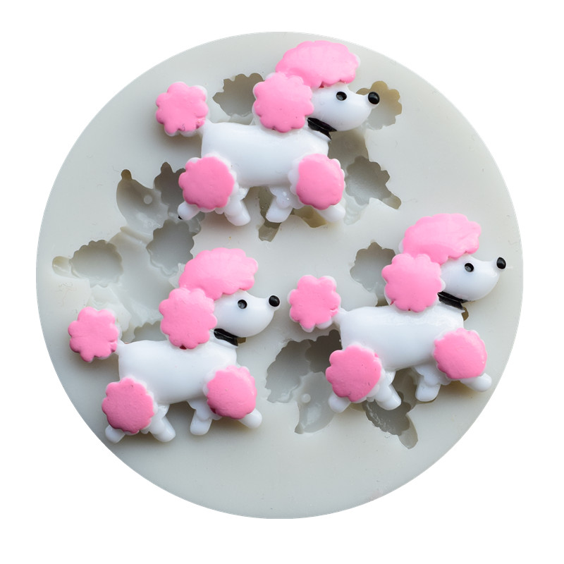 Poodle Dog <font><b>Silicone</b></font> <font><b>Mold</b></font> Baby Birthday <font><b>Fondant</b></font> <font><b>Cake</b></font> <font><b>Decorating</b></font> <font><b>Tools</b></font> Chocolate Candy Clay Gumpaste Moulds SQ1887 image