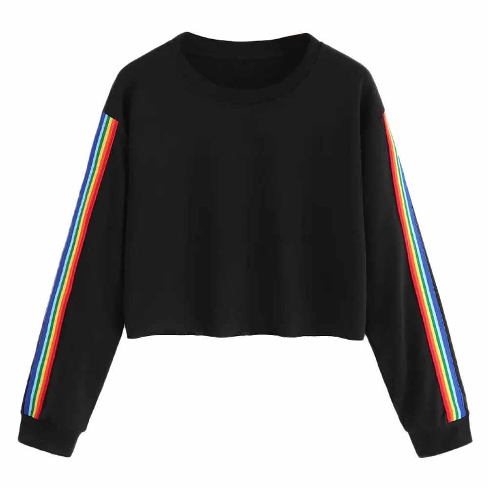 JAYCOSIN Sweaters Vrouwen Regenboog Patchwork O Hals Feminino Hoodie Mujer Lange Mouw Korte Sweatshirt Vrouwen 19JUN27