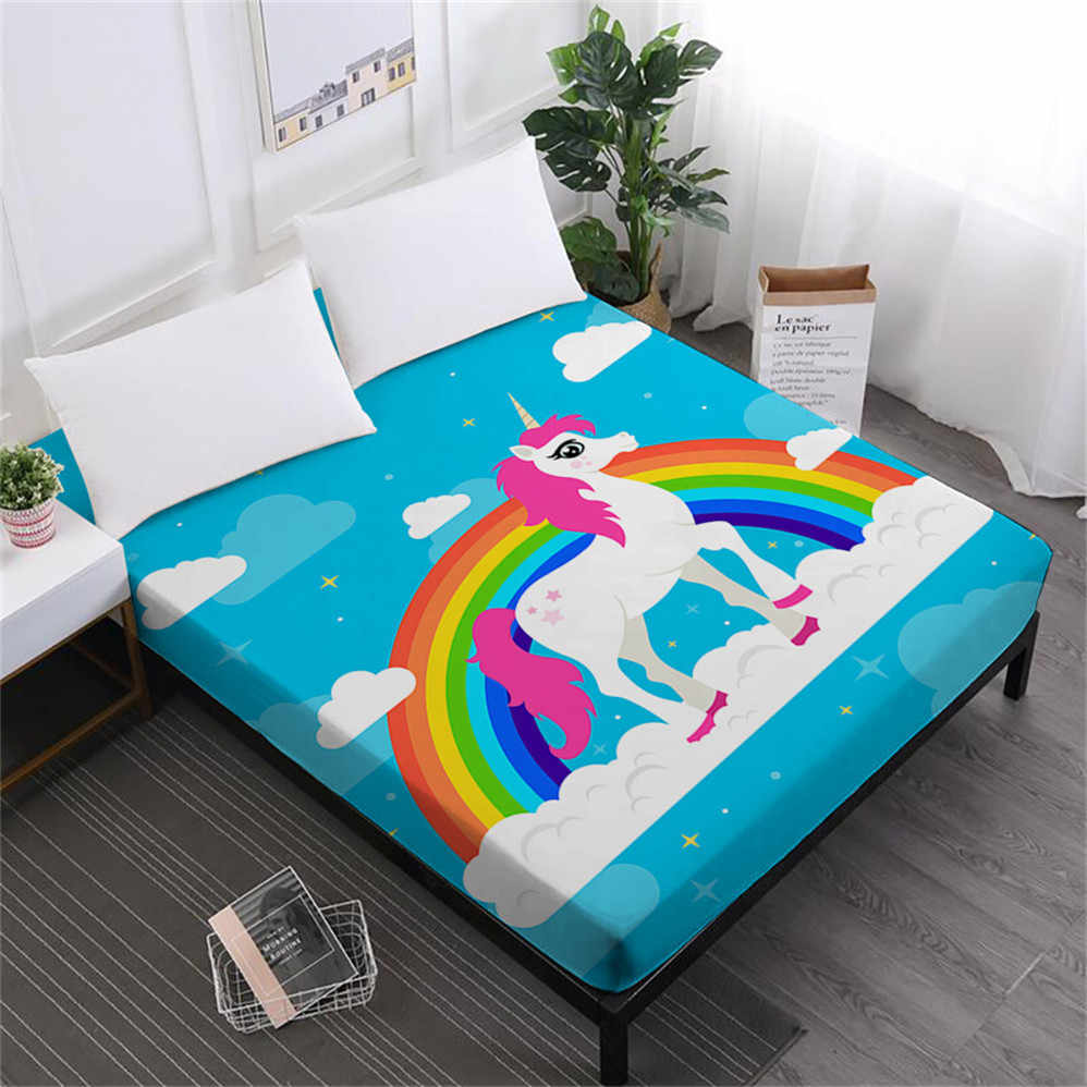 Cute Cartoon Bed Sheets Colorful Unicorn Print Fitted Sheet Girls Kids Sweet Sheet Soft Bedclothes Mattress Cover Elastic D45