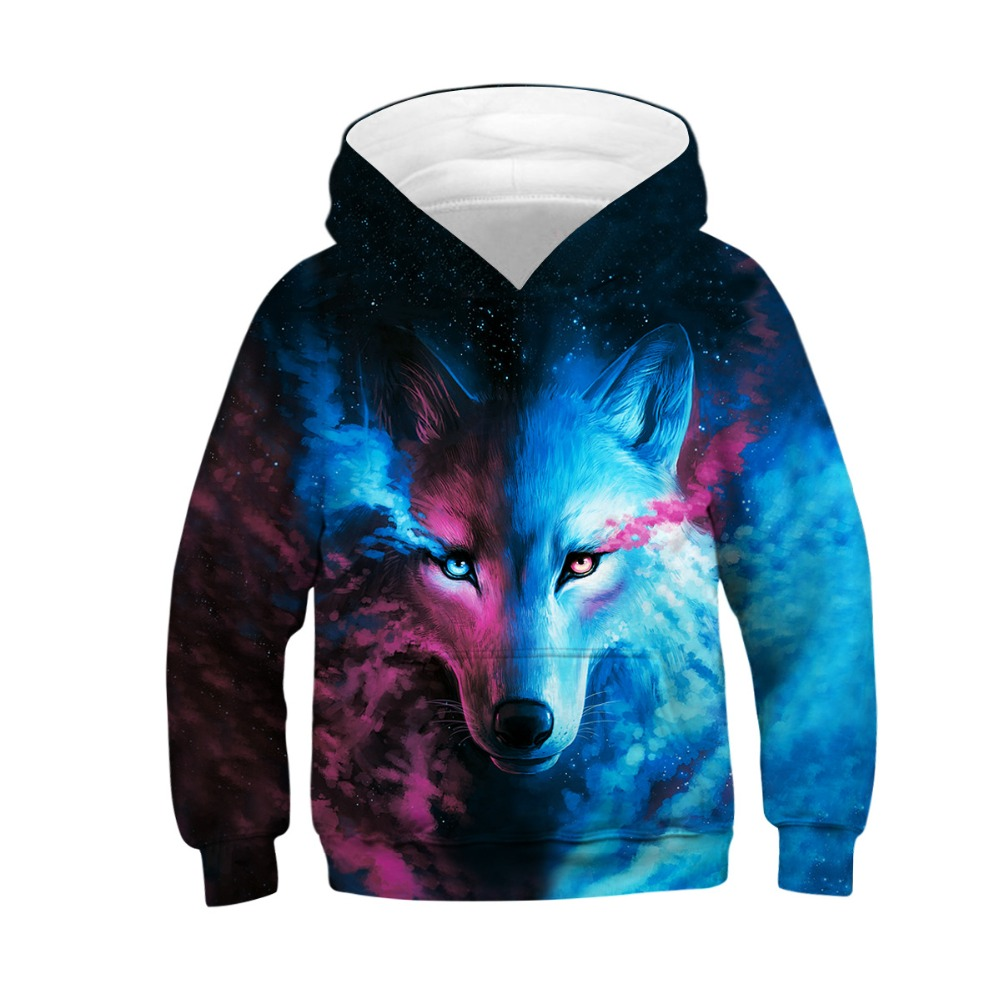 bibihou Wolf 3D Print Boys Girls Hoodies Teens