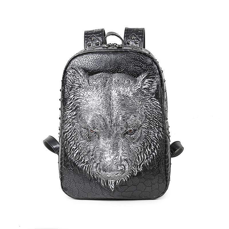 Fashion 3D Tiger Backpacks Punk Rivet PU Leather Shoulder Bags Unisex Casual Laptop Bag Travel Waterproof Shoulder Bags