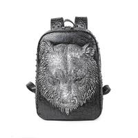 Fashion 3D Tiger Backpacks Punk Rivet PU Leather Shoulder Bags Unisex Casual Laptop Bag Travel Waterproof Shoulder Bags