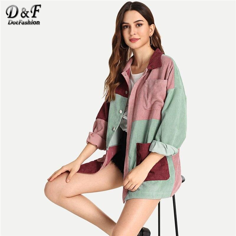 Dotfashion Colorblock poche bouton avant velours côtelé manteau décontracté automne unique boutonnage à manches longues vêtements vêtements de dessus pour femmes