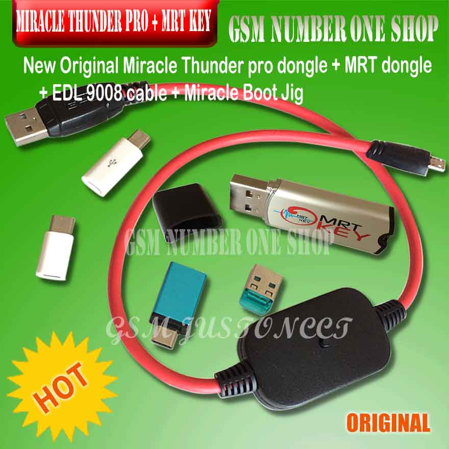 miracle thunder dongle with miracle edl cable with mriacle boot jigs