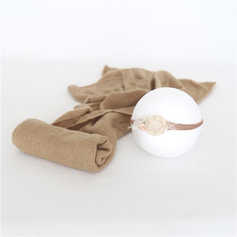 Vintage Brown Baby Boy Wrap And Headband Set Newborn Tieback Basket Layer Newborn Swaddle Wrap Photography Props