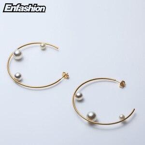 Image 4 - Enfashion Jewelry Geometric Pearl Line Hoop Earrings Gold color Stainless Steel Circle Earrings For Women Earings EEF1014
