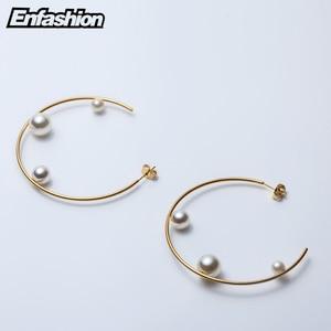 Image 4 - Enfashion תכשיטי גיאומטרי פרל קו חישוק עגילי זהב צבע נירוסטה מעגל עגילים לנשים עגילי EEF1014