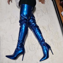Heeled Stiletto-Heels High-Boot-Botines Over-The-Knee-Boots Thigh Big-Size Women PATENT