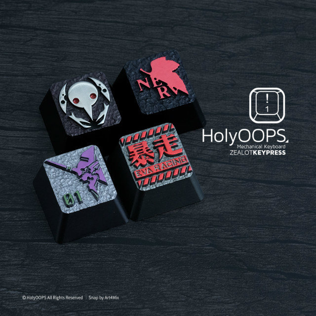 1pc HolyOOPS EVA Series Mechanical Keyboard Aluminium Alloy full Metal key cap Personality keycaps Two Three Times Anode death times three