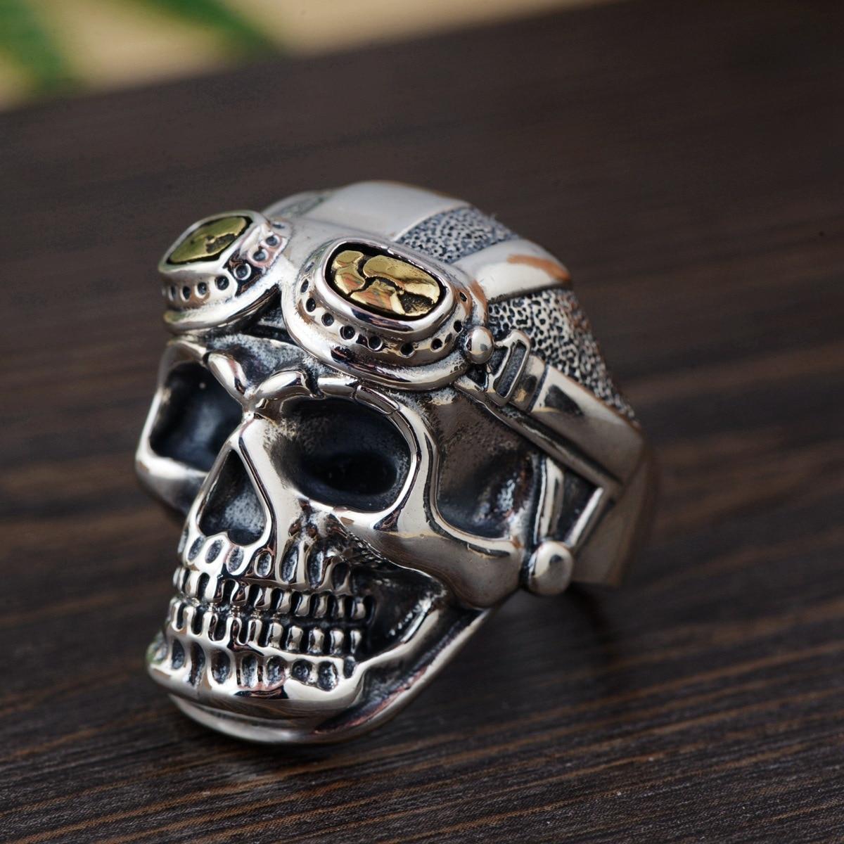 Anneaux de motard personnalisés pour hommes véritable tête de crâne en argent Sterling 925 avec verre pilote anneaux pour hommes redimensionnables Vintage Punk