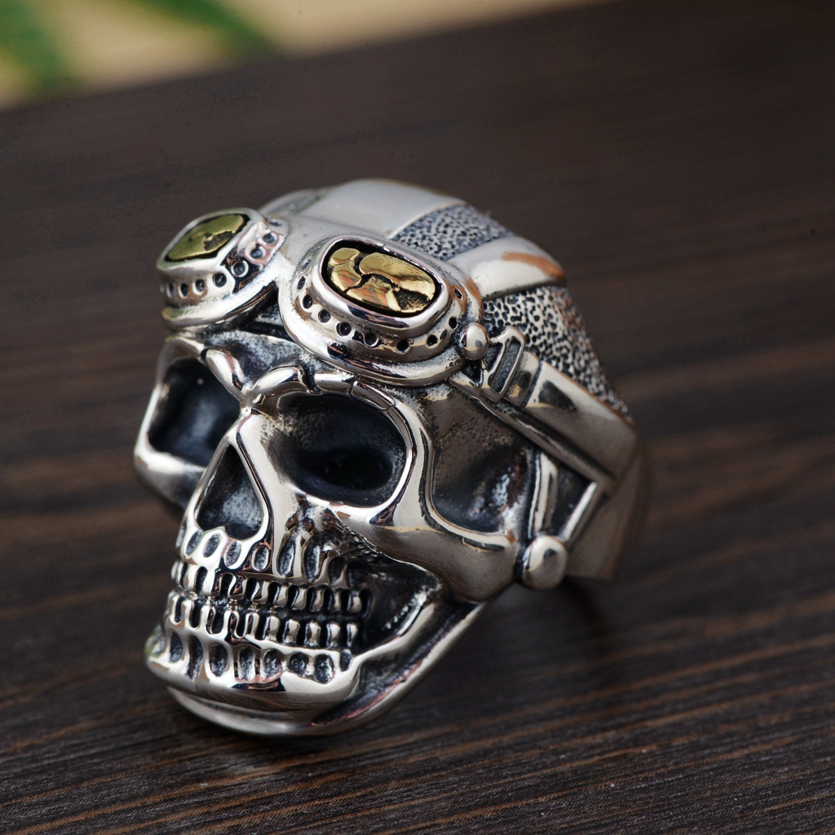 Personalized Biker Rings For Men Genuine 925 Sterling Silver Skull Head With Pilot Glass Mens Rings Resizable Vintage Punk