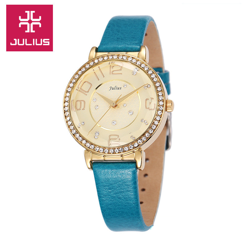 2015 New Julius Lady Woman Wrist Watch Quartz Hours Best Fashion Dress Korea Bracelet Band Leather