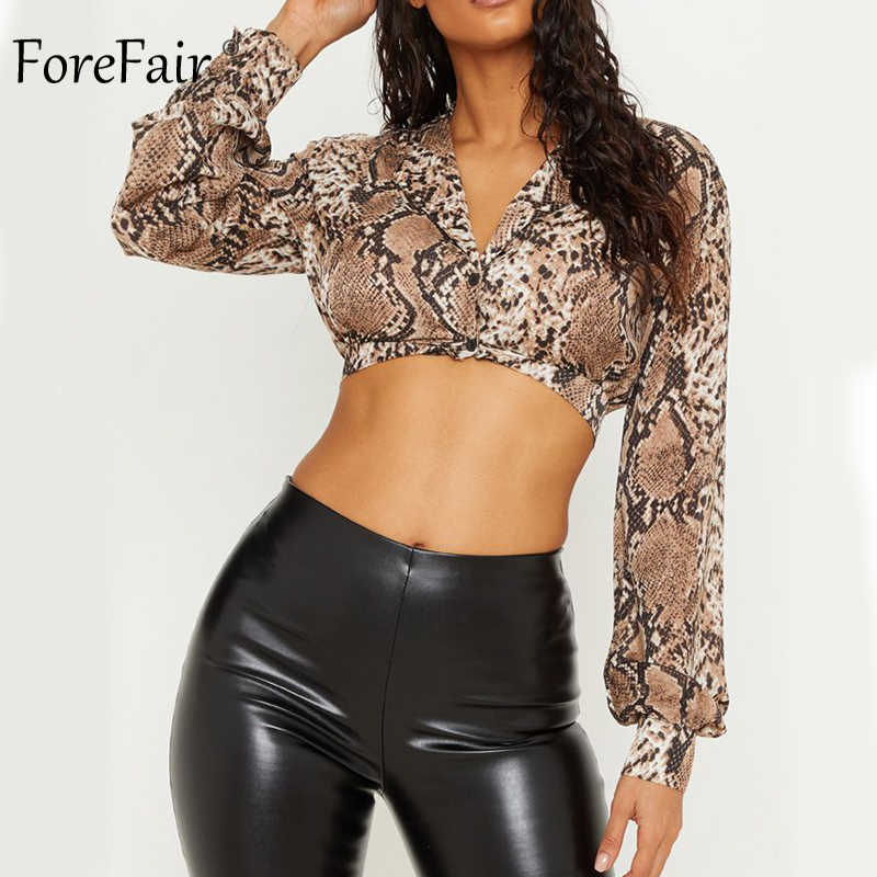 cc1b4c611c61 ... Forefair Women Snake Skin Chiffon Blouse Sexy V Neck Casual Lantern Long  Sleeve Crop Top Animal ...