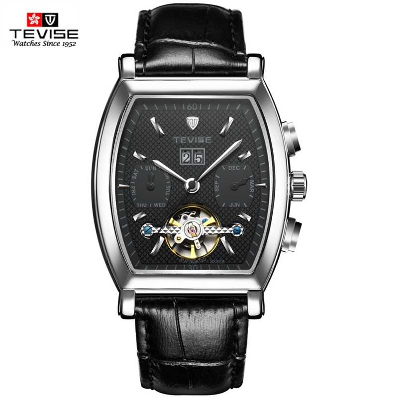 TEVISE Mechanical Watch Men Tourbillon Date Calendar Men's Watches Waterproof Leather Automatic Wristwatch Support Dropshipping tevise tourbillon watch men date calendar self wind automatic mechanical watches leather men watch fashion waterproof male clock
