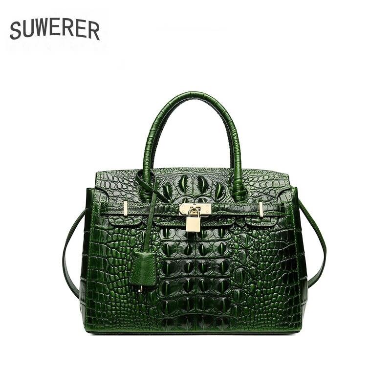 SUWERER 2019 New Women Genuine Leather bags luxury handbag women bag designer Crocodile pattern embossing women leather handbags