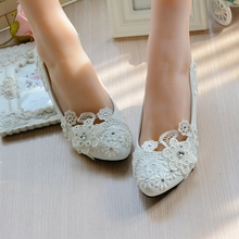 Women Pumps White Wedding Shoes spring autumn Sweet shoe White Wedding Shoes Bride Shoes High heeled Rhinestone Large Size 35-42