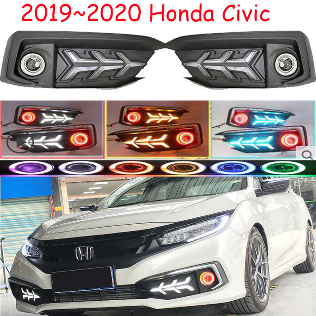1 takım 2019 ~ 2020y araba tampon kafa ışık Honda Civic sis lambası araba aksesuarları LED DRL far civic projektör lens lambası