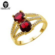 Beauty Two Trendy Red Blue Green Colors Stone Zircon Love Lady Ring Women's Valentine's Day High Quality Gifts for Female(China)