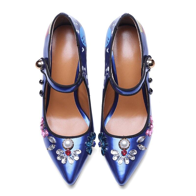 Bout Cristal Goujon Femme Jane Pointu Hauts Baiser Pompes Femelle 2019 En D'impression Femmes Perle Printemps Chaussures Bleu Mary Talons Mouillé argent Nouveau SSwPB