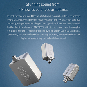 Image 3 - FiiO FA7 היי Res נואלס Quad נהג אבזור מאוזן HiFi באוזן אוזניות מוניטורים עם MMCX להסרה כבל DLP 3D מודפס