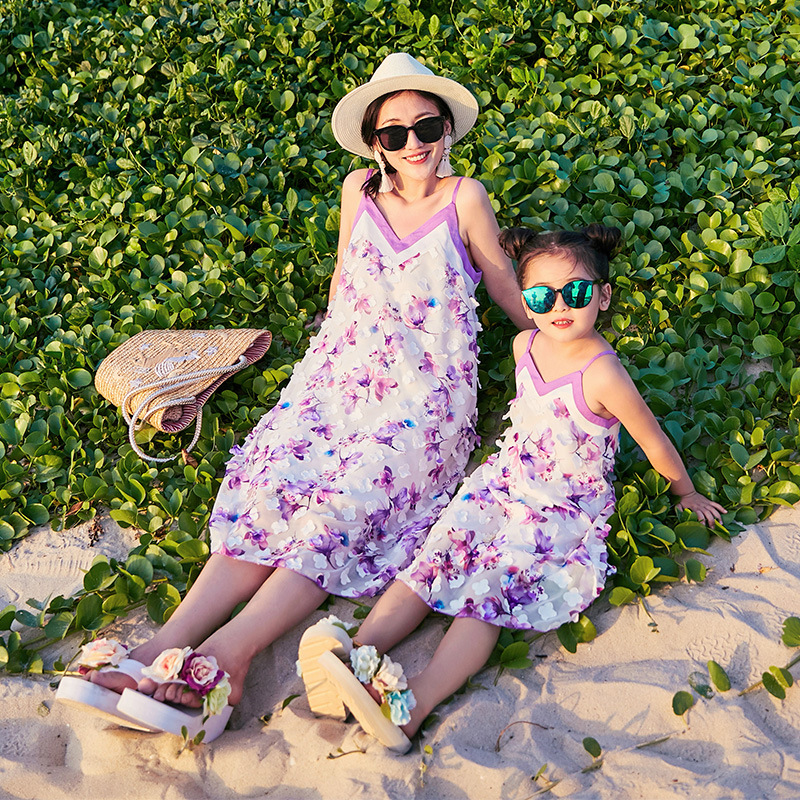 Famille look mère fille robes bébé fille vêtements robe famille correspondant vêtements belle robe florale correspondant tenues - 2