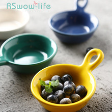 Creative Single-handle Ceramic Dish Restaurant Japanese Candy Snack Dishes Sauce Trinket For Kitchen Supplies