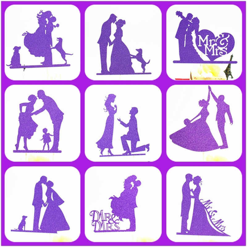 Wedding Cake Topper Purple Weeding Decoration For Weddings Mr Mrs Wedding Cake Topper Party Supplies Bride And Groom Cake Topper