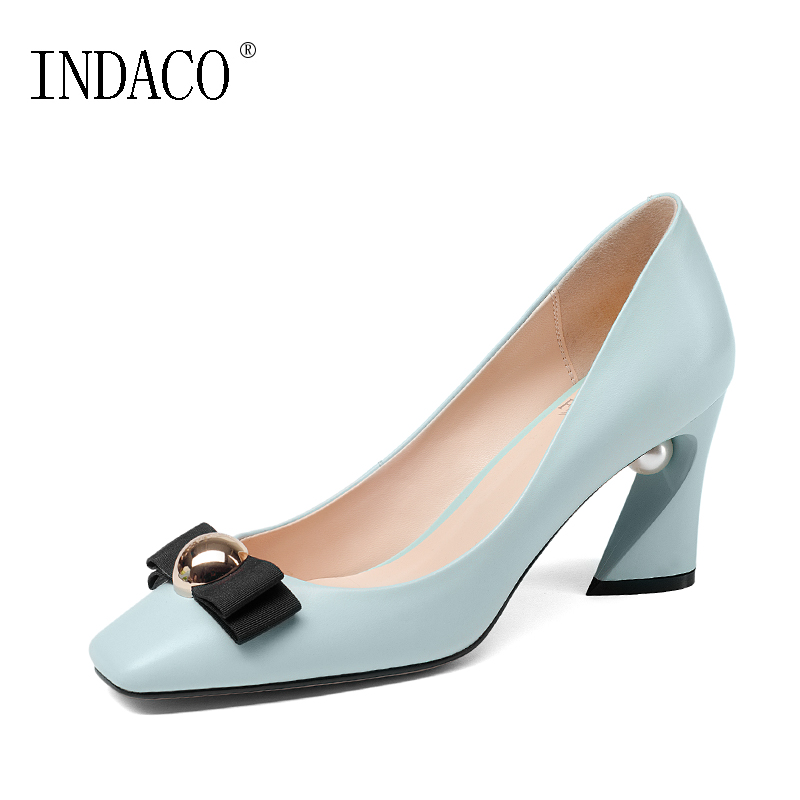 Pumps Women Shoes Blue Pumps Leather Bow Pearl High Heel Shoes for Party 7.5cm 34-43 INDACO