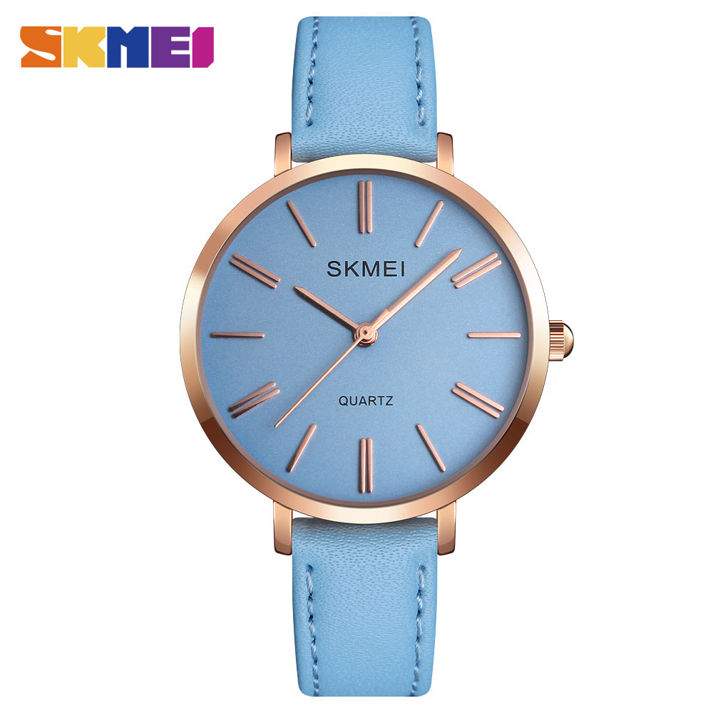 Skmei Woman Quartz montre femme Classic Leisure Leather strap Watch Waterproof Vouge Dress For Female Ladies Simple Watches