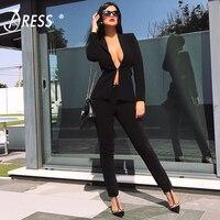 INDRESSME Мода 2017 г. v образным вырезом Sexy Бизнес брючный костюм комплект пиджаки Формальные Для женщин элегантные узкие вырезать черный спинки