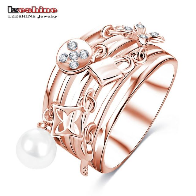 LZESHINE New Design Women Ring Multilayer Hollow 18K White Gold Plated Finger Ring Exquisite Decorative Jewelry CRI0419-B