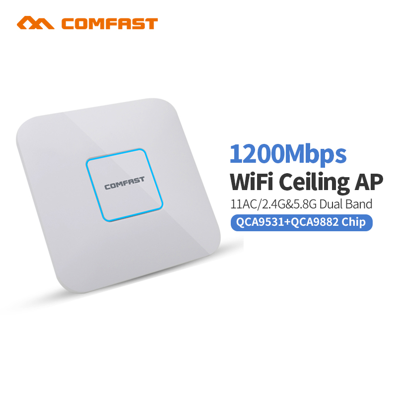 2.4Ghz+5.8G 1200Mbps High Power Wifi Router Indoor Ceiling AP Wifi Signal Booster WIFI Expander Repeater RJ45 Wifi PoE Adater
