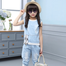 2019 new summer baby girl clothes suit fashion thin denim body kids jean clothing sets childrens suits for