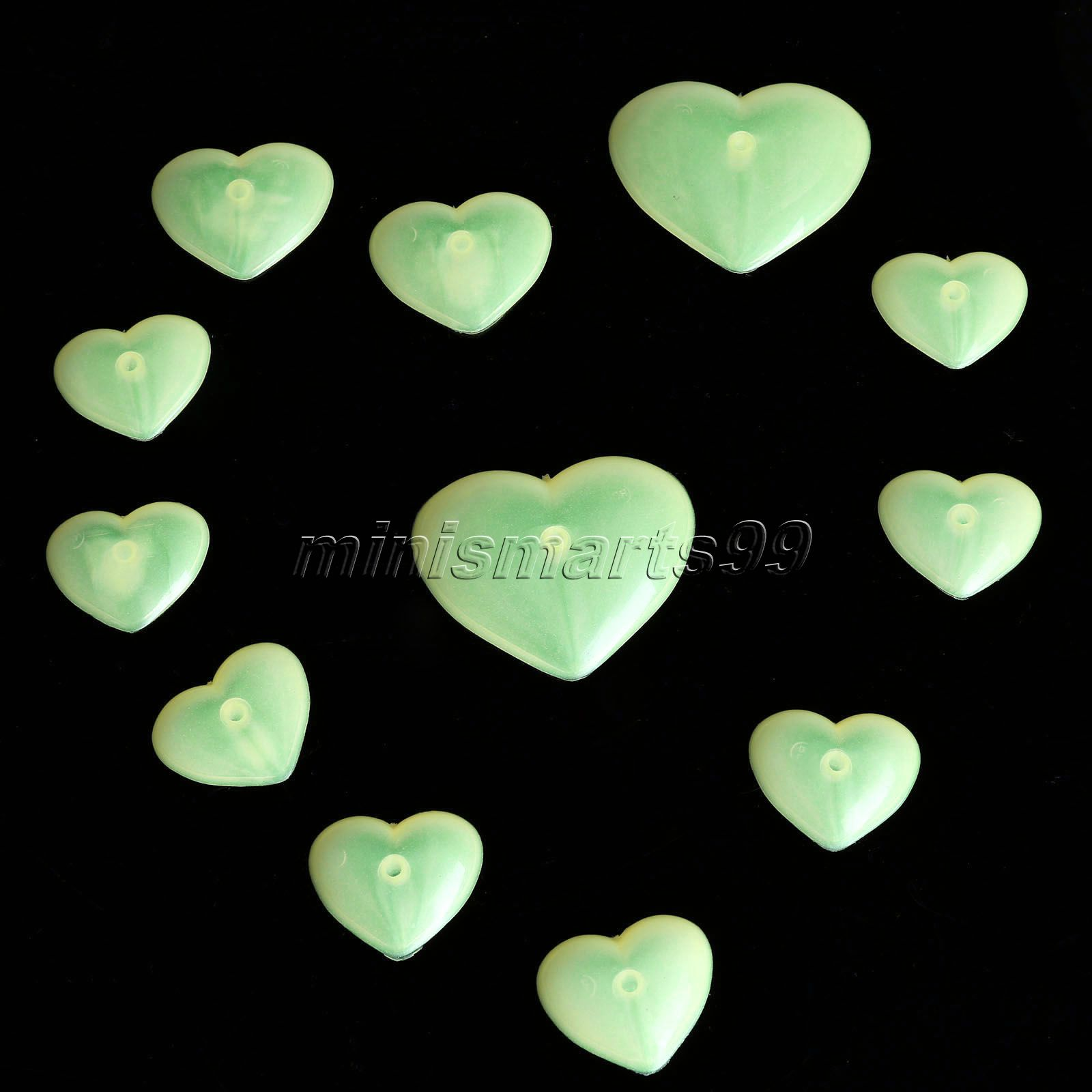 12PC 3D Hearts Wall Stickers Nursery Decor Sticker Glow In Dark Luminous Fluorescent Plastic Wall Decals Kids Bedroom Home Decor