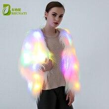 Led 모피 코트 무대 의상 여성 led 빛나는 옷 재킷 바 댄스 쇼 가짜 모피 코트 스타 나이트 클럽 크리스마스 led 코트