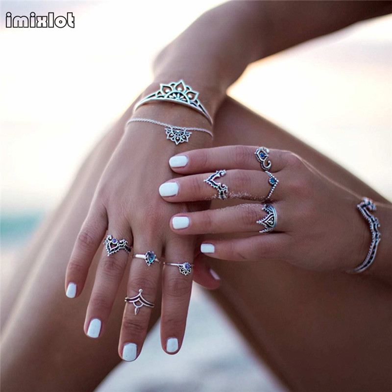 imixlot New Bohemian Jewelry Retro Hollow Petals Leaves Silver Plated Adjustable Boho Charm Flowers Bracelet For Women