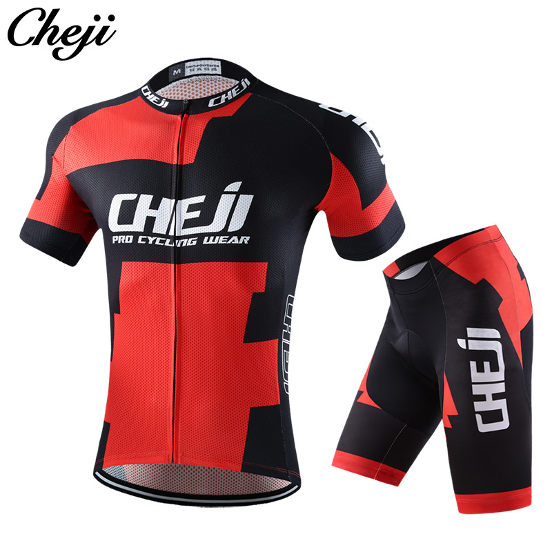 CHEJI Cycling Clothes Men 2017 Quick Dry Pro Team Road/mtb Bike Jersey Set Black Red Col ...