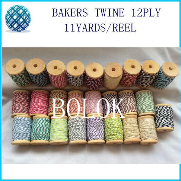 5pcs/lot 32 kinds color choose 12ply thick cotton Bakers twine (11yards/wooden reel )for gift packing, wedding, party