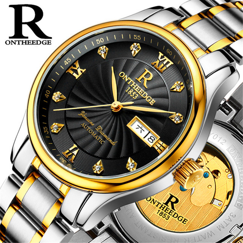 Gold Mechanical Automatic Watch for Men Fully-automatic Movement Transparent Case Back Luxury Diamond Roman Dial New Reloj цена