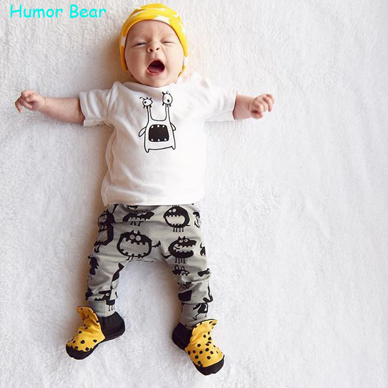 Humor Bear 2016 New style summer Baby Clothing Sets Boy Cotton cartoon Short Sleeve 2pcs Baby Boy Clothes